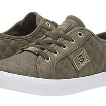 Gbg G by Guess Womens Backer Olive Green Gold Lace Up Leather Quilted Sneakers 8 Photo