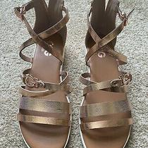 Gbg Guess Rose Gold Strappy Flat Sandals  Photo