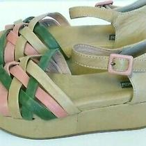 Gee Wawa Anthropologie Sandals Distressed Leather Wedges Womens 7 Green Pink Tan Photo