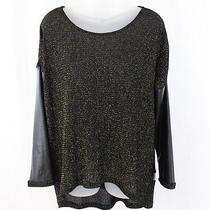 Generation Love Black Gold Shimmer Knit Faux Leather Sleeve Shirt Top M L Photo
