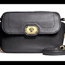Geniune Coach F24843 Campbell Turnlock Leather Camera Bag Black Photo
