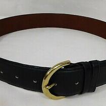 Gently Loved Coach Navy Blue Womens 8500 Leather Belt W/ Brass Buckle Sz. M Photo