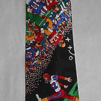 Gently Used 1991 Nicole Miller Silk Tie With Football Game Theme Photo
