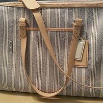 Gently Used Coach Diaper Bag Multipurpose Purse Ticking Stripe Photo