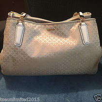 Gently Used Coach Madison Op Art Pearlescent Fabric Carryall Shoulder Bag 30681  Photo