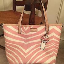 Gently Used Coach Pink and White Zebra Print Coated Cotton Tote. Photo