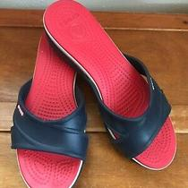 Gently Used Crocs Navy Blue Criss Cross Strap Wedge Heel W Red & White Footbed  Photo