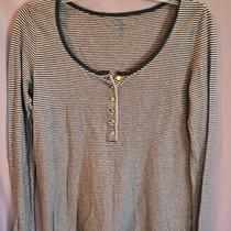 Gently Used Gray White Long Henley Sleeve Shirt Top From Gap Body Size Med Photo