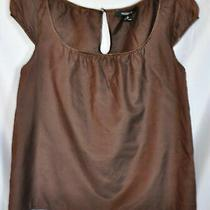 Gently Used Silk Blend Brown Cap Sleeve Pheasant Top Shirt From Arden B Medium Photo