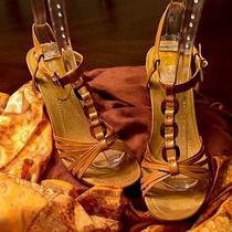 Gently Worn Bandolino Gold Wedge Strappy Sandal 8 Med Photo