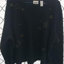 Gently Worn Black Knit Top-Stitched Stars by Classic Elements Woman -20/22w Photo