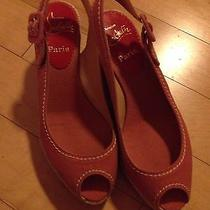 Gently Worn Christian Louboutin Red Rose Pink Canvas Slingback Wedge 35 / 5 Photo