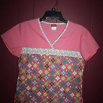 Gently Worn Looks Great Dickies Xs Pink Squares Scrub Top Photo