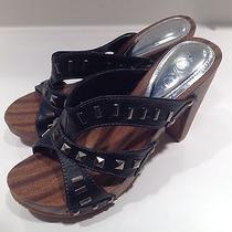 Gently Worn Xoxo Delphine Women's Black Sandal Heels Size 6.5 Photo