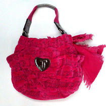 Genuine Authentic Juicy Couture Pink Velour Handbag With Silver Accents - Euc Photo
