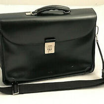 Genuine Bally Black Leather Authentic Briefcase Laptop Bag Men's Made in Italy Photo