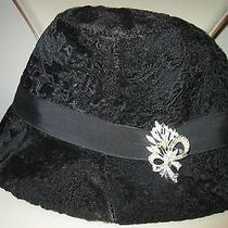 Genuine Black Karakul Persian Lamb Vintage Woman Hat With Brooch Size S-M (56) Photo