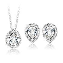Genuine Clear Swarovski Crystal Christie Pear Necklace Earrings Gift Set Bridal Photo