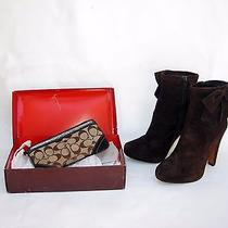 Genuine Coach Aubrie Brown Suede Boots 5 1/2 B Style Q541 & Wrist-Let Clutch Lot Photo