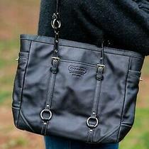 Genuine Coach Black Leather Tote Bag - Zip Lock - Us Seller Photo