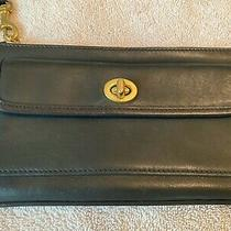 Genuine Coach Black Leather Wristlet Clutch Purse  Photo