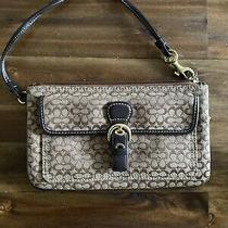 Genuine Coach Clutch Leather and Canvas Brown Coach Logo Photo