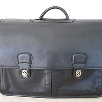 Genuine Coach Leather Business Laptop Briefcase With Strap in Black  Photo