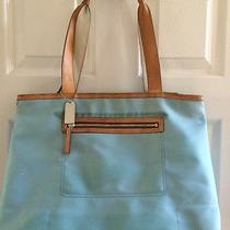 Genuine Coach Tote Light Blue/two-Tone Tan Leather Accents Bag Purse Carry-On Photo