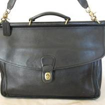 Genuine Coach Willis Leather Briefcase Brief Messenger Bag in Black Photo
