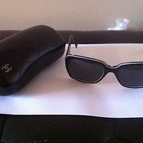Genuine Coco Chanel Sunglasses Authentic 5221 Ch5221 Silver Cc Logo Black Photo