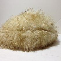 Genuine Dyed Tuscan Lamb Fur Hat Italy Women's White With Dark Tips Photo