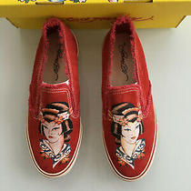 Genuine Ed Hardy Geisha Woman's Suede Slip on Sneakers Red Size 7 Photo