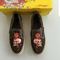 Genuine Ed Hardy Skull/rose Woman's Suede Slip on Sneakers Brown Size 7 Photo