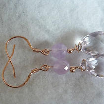 Genuine Faceted Drops of Lavender Amethystand Rose Gold Sterling Silver Earrings Photo