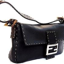 Genuine Fendi Black Selleria Baguette Lamb Leather Handbag Sterling Silver Hw Photo