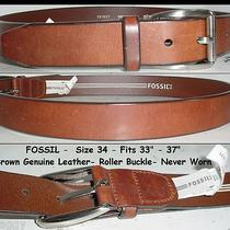 Genuine Fossil Classic Wide Brown Veg-Tanned Leather Belt Roller Buckle 34 Photo
