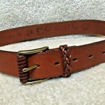Genuine Fossil Womens Leather Belt With Braided Trim Size M  Bt1907 Photo