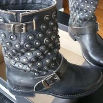 Genuine  Frye Jenna Disc Short Black  Leather Moto Boots Size Us 8 M Photo