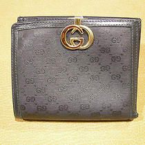 Genuine Gucci Wallet Classic Black Canvas & Leather Bifold Organizer Authentic Photo