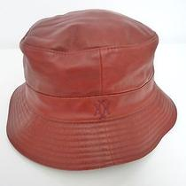 Genuine Hermes / Motsch Red Leather Bucket Hat Size 56  Free Shipping World Photo