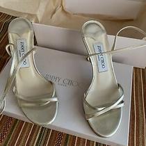 Genuine Jimmy Choo Gold Juliet Ankle Strap Heels Shoes Us Size 5 Box Dust Bag Photo