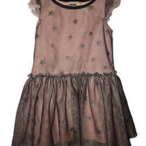 Genuine Kids From Oshkosh Toddler Girls Gray Blush Star Tulle Dress Size 3t Photo