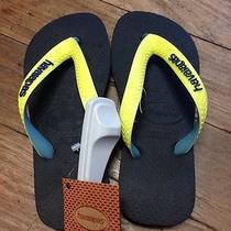 Genuine Kids Top Mix Black/yellow Havaianas Bnwts in Size 29-30 Photo