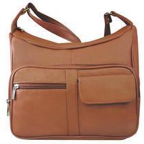Genuine Leather Medium Shoulder Hobo Cross Body Organizer Handbag Light Brown Photo
