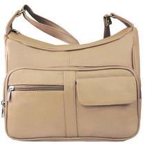 Genuine Leather Medium Shoulder Hobo Cross Body Organizer Handbag Cream Photo