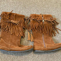 Genuine Minnetonka Brown Suede Leather Fringe Boots Womens Size 8 Photo