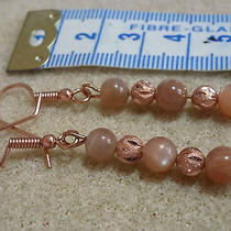 Genuine Peach Sunstone in Rose Gold Plated  Earrings Photo