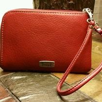 Genuine Red Leather Fossil Wristlet  Wrist Purse Nwt Photo