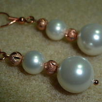Genuine Sparkle Rose Gold Plated and Shell White Pearl  Earrings Photo
