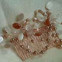 Genuine Sunstone/clear Quartz Leaf and Pearl Flower Rose Gold Comb Photo